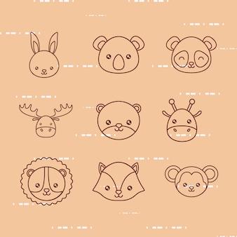 Набор иконок милые животные на коричневом фоне