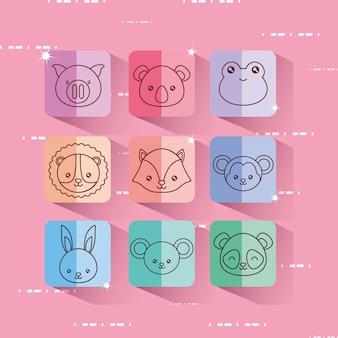 Набор иконок милые животные на красочные квадраты и розовый фон