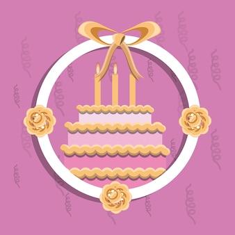 ピンクの背景に花と誕生日ケーキのアイコンと装飾的な円形のフレーム