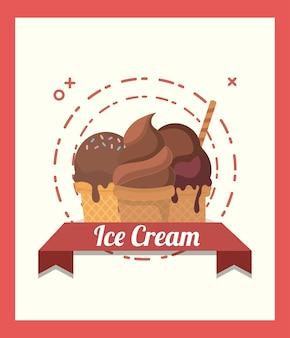 Эмблема мороженого с шоколадным конусом мороженого и декоративной лентой