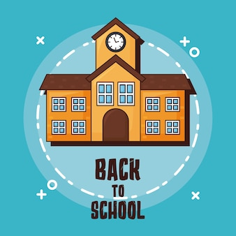 Снова в школу со значком здания на синем фоне