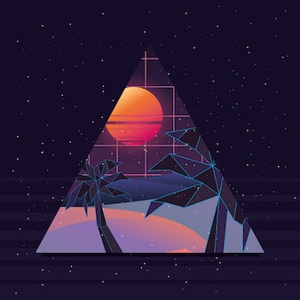黒い背景の上にビーチの日没と三角形