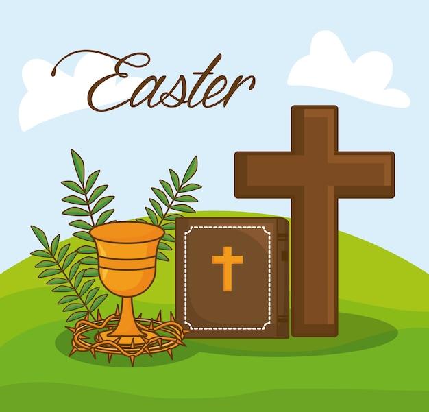 Празднование пасхи с библией и символами христианства над пейзажем