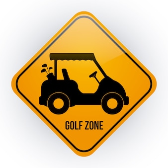 白い背景のベクトル図の上にゴルフのデザイン