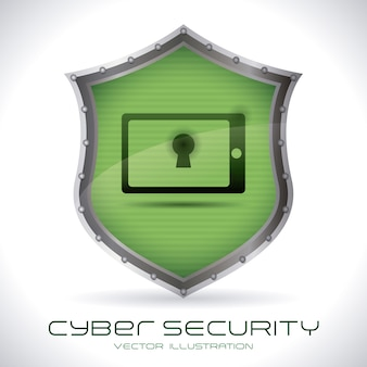 灰色の背景上のセキュリティシステムベクトル図