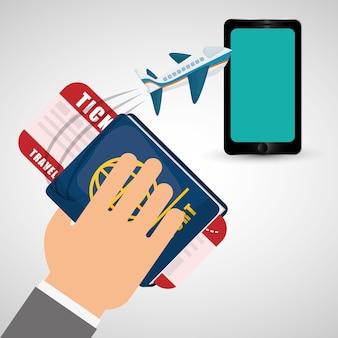 手持ちのパスポートチケット旅行飛行機の携帯電話