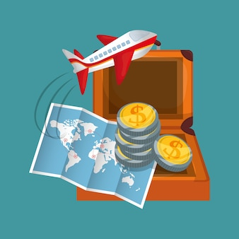 旅行マップコインスーツケース飛行機