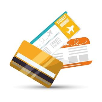 旅行のクレジットカードのチケットの飛行機のグラフィック