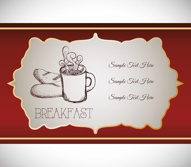 手描き朝食コーヒーブレッドフードレトロバナー