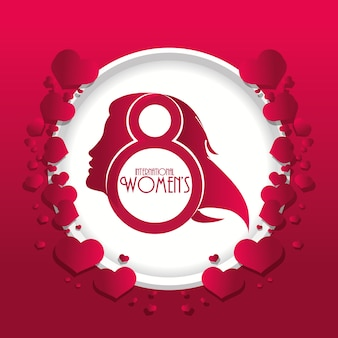 国際的な女性の日赤い心