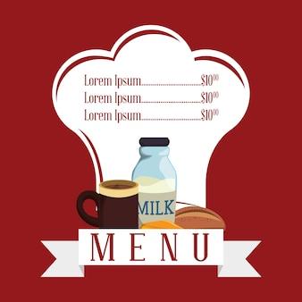 朝食メニューシェイプレストランミルクコーヒーチーズパン赤い背景
