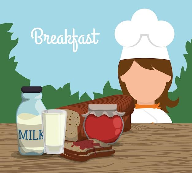 Завтрак девушка шеф-повар молочные джемы тосты пейзаж
