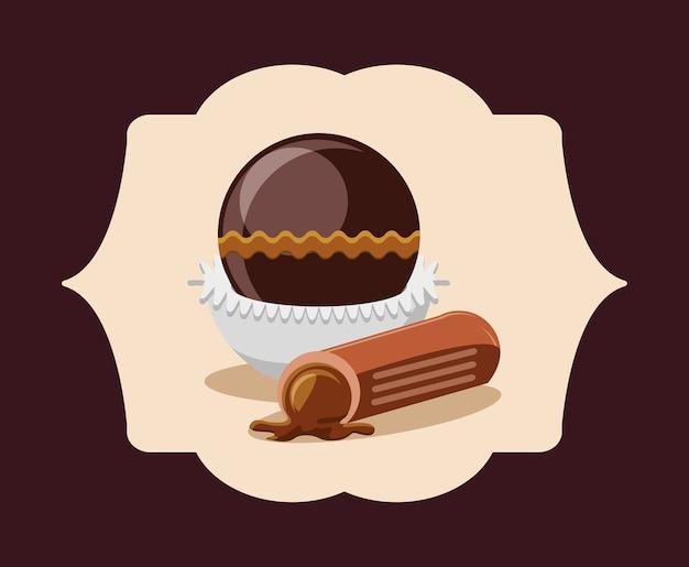 白いフレームと茶色の背景の上にチョコレートトリュフとエンブレム