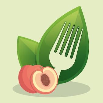 ビーガン桃の新鮮な食品