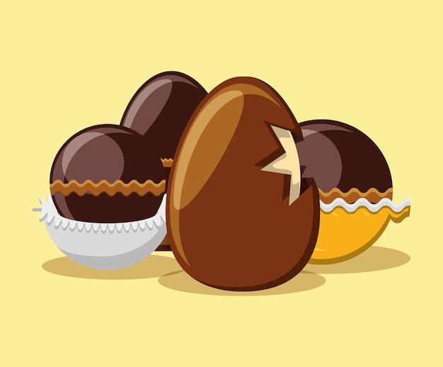 黄色の背景の上にチョコレートの卵とトリュフ