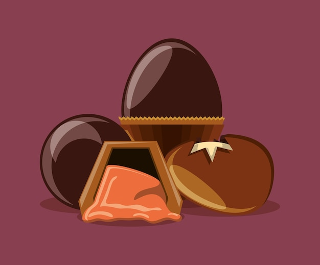 チョコレートの卵と紫色の背景上のトリュフ