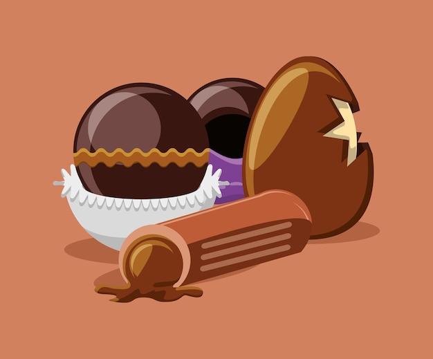 チョコレートの卵とオリーブの背景にトリュフ