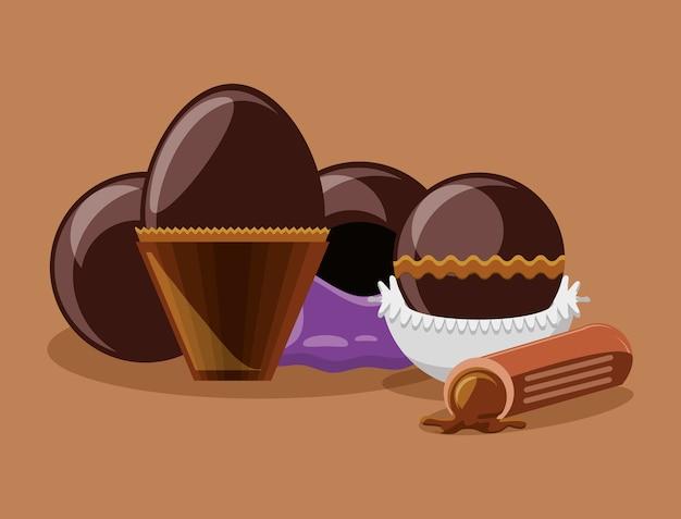 チョコレートの卵と茶色の背景上のトリュフ