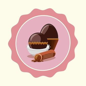 チョコレートの卵とトリュフの上にピンクのシールスタンプと白い背景