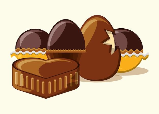 チョコレートの卵とチョコレートの心、トリュフと白い背景