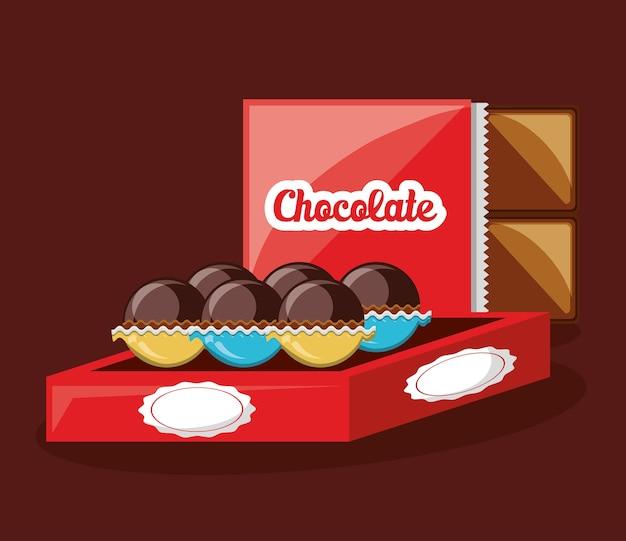 背景にチョコレートトリュフのボックス