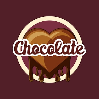 茶色の背景の上にチョコレートアイコンの心臓部のエンブレム
