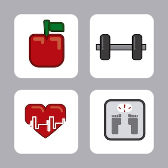 灰色の背景ベクトル図上の健康的なデザイン