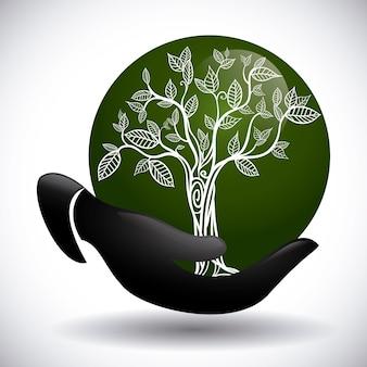 エコデザイン、グレーの背景ベクトル図