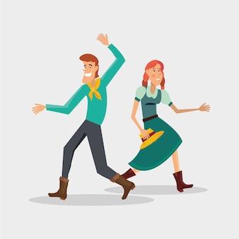 白い背景の上に伝統的なダンスを踊っている漫画のカップルとフェスタジュニア