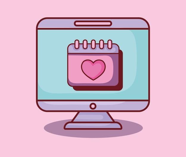 コンピュータカレンダー愛の計画オンラインデート