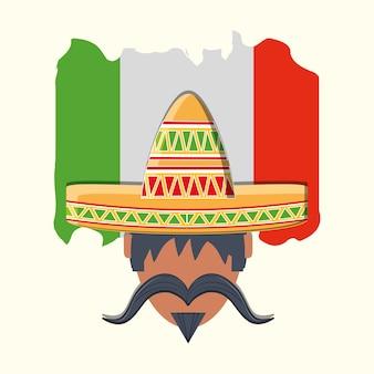 メキシコの国旗、メキシコ人、アイコン、白、背景