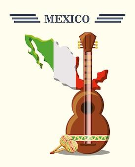 メキシコの国旗、ギリシャ、マラカス、白、背景
