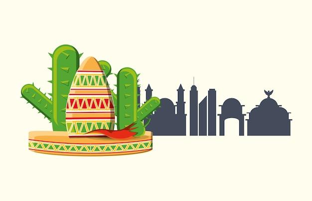 メキシコの帽子と白い背景の上にメキシコの都市のシルエットとサボテン