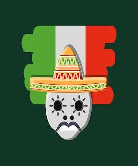 メキシコの旗と緑の背景の上に帽子を持つメキシコの頭蓋骨