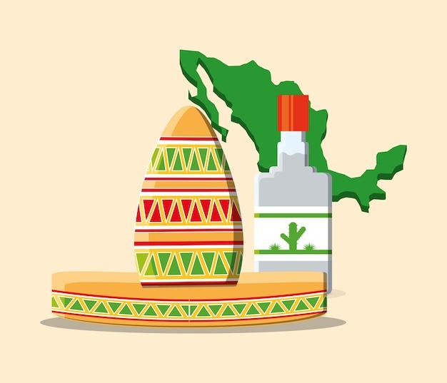 メキシコの帽子とテキーラのボトル