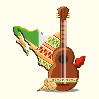 ギターとメキシコの国の地図を白い背景