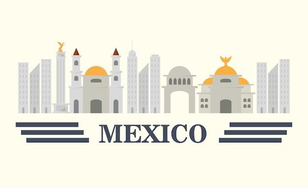 白い背景の上のメキシコの都市の建物