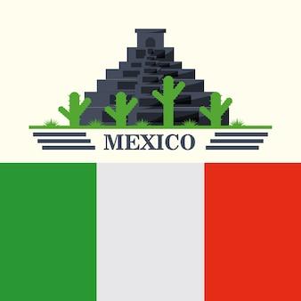 白い背景の上にメキシコのピラミッドとサボテンとの旗