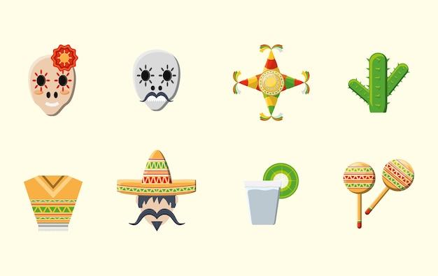 白い背景の上にメキシカ文化関連のアイコン