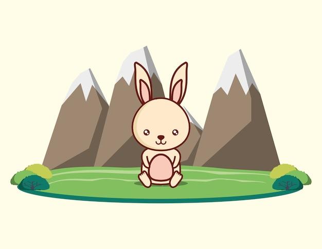 山の景色と白い背景の上のかわいいウサギ