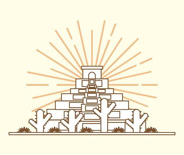 白い背景のメキシコのピラミッドとサボテンとメキシコ