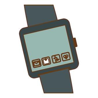 アプリケーションと灰色のシンボルスマートウォッチ