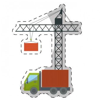 クレーンとトラックのアイコン画像