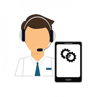 スマートフォンサービスアイコン付きの男性用ヘッドフォン