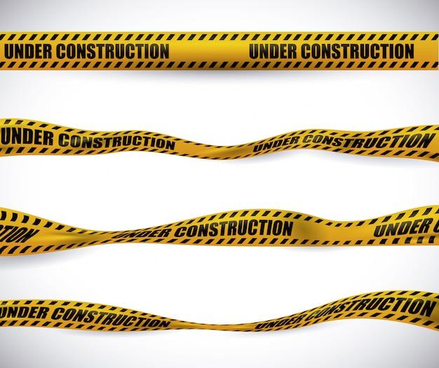 黄色いテープデザイン。