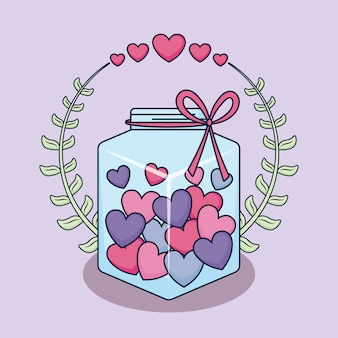 瓶と心の愛カード