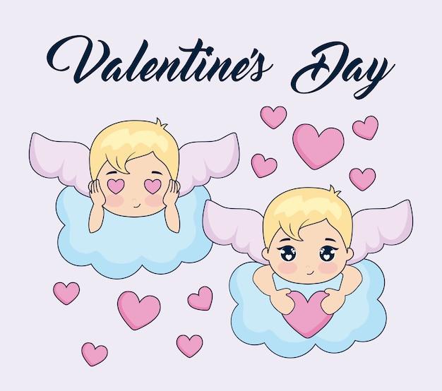 キューピッドとバレンタインの日カード