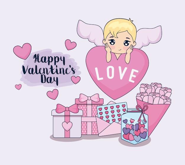 Валентинка с амуром и набором иконок
