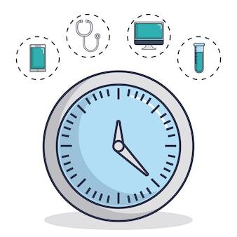 医療機器関連のアイコン付き時計