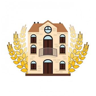 小麦のイメージデザインとビールの食堂